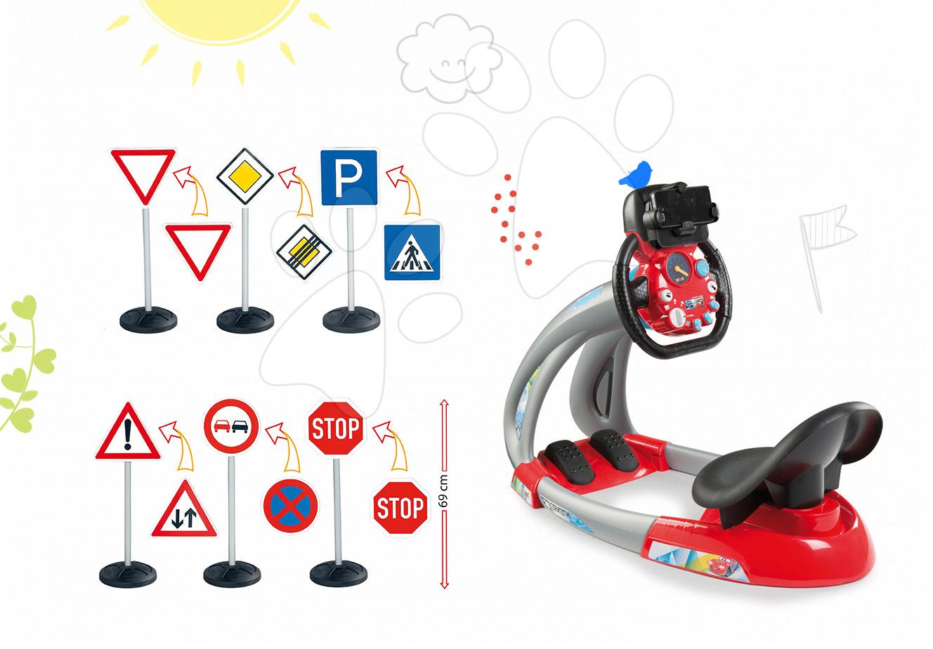 Set trenažér V8 Driver Smoby elektronický so zvukom a svetlom a dopravné značky 10 druhov