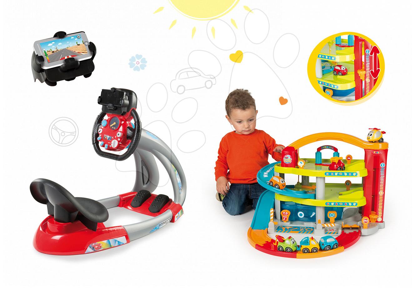 Smoby dětský elektronický trenažér V8 Driver a dvoupatrová garáž Vroom Planet 370206-2