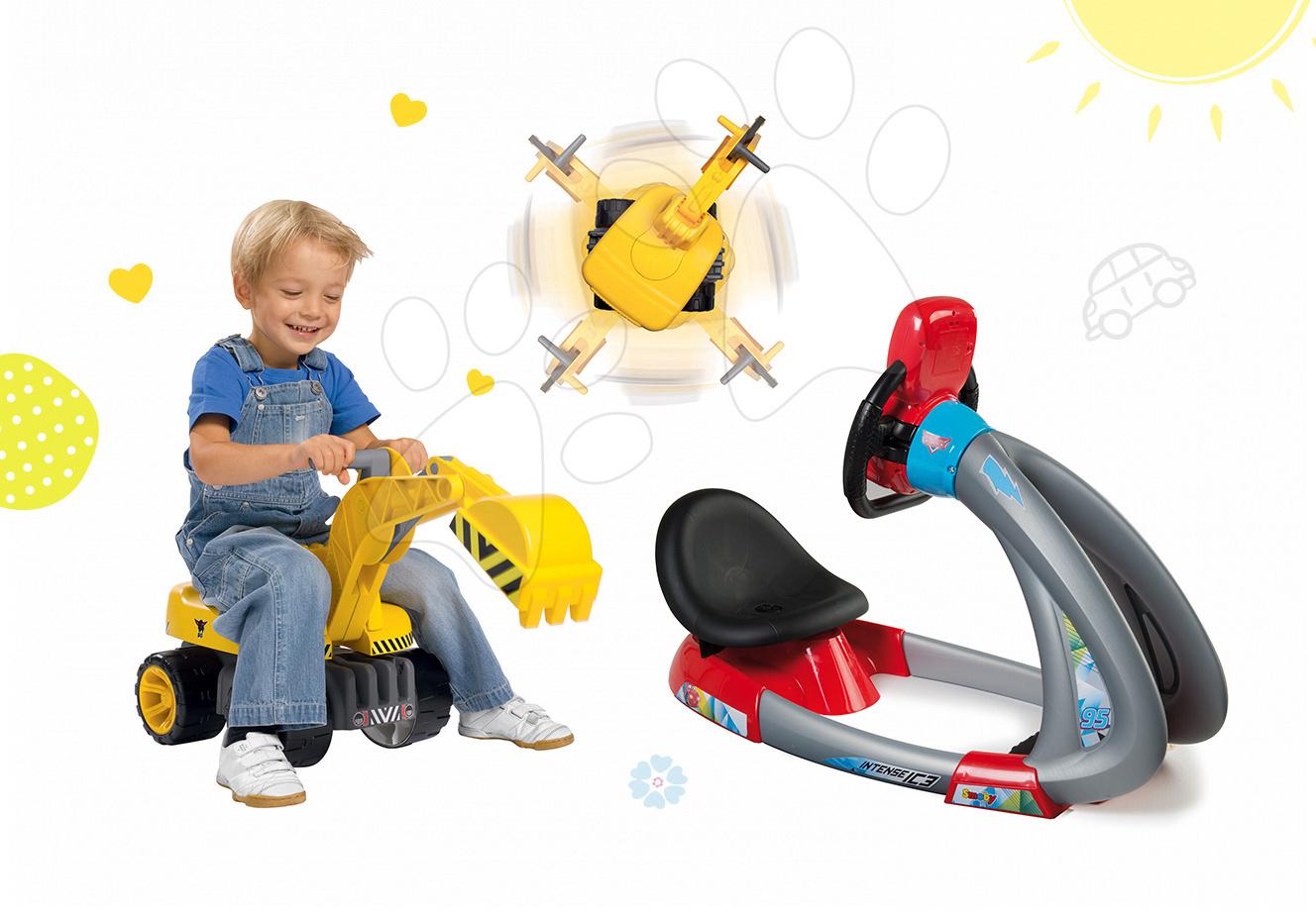 Set trenažér pro děti V8 Driver Smoby elektronický se zvukem a světlem a bagr Power Maxi se sedadlem