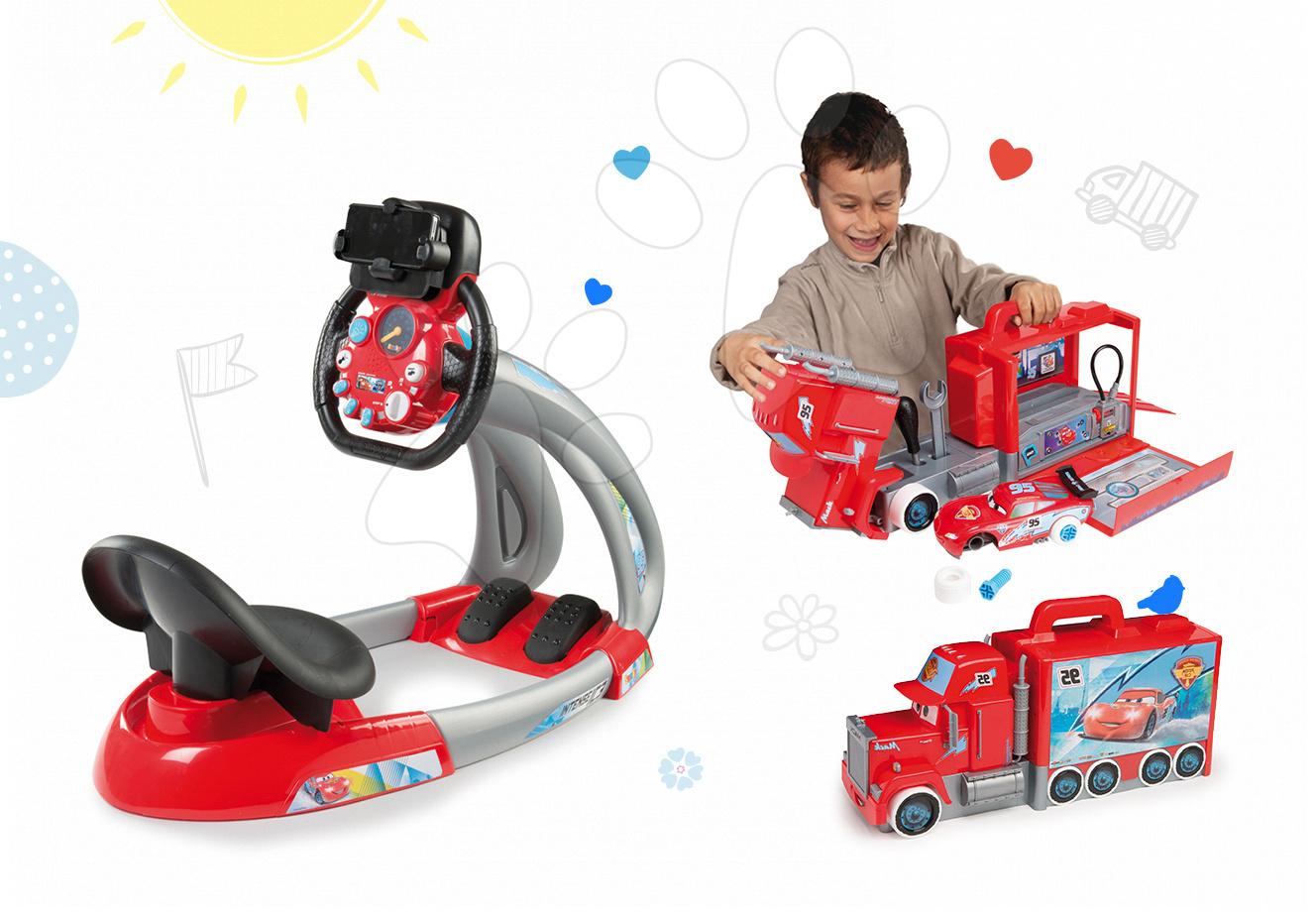 Set trenažér pro děti V8 Driver Smoby elektronický se zvukem a světlem a elektronický kamion s autíčkem McQueen