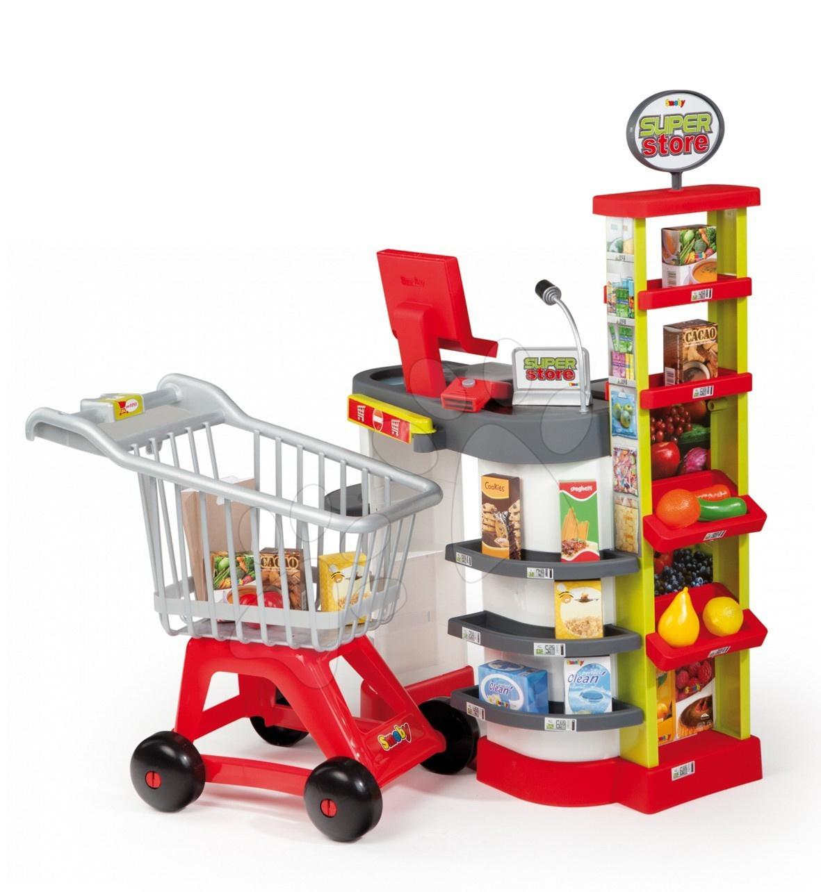 Super Store obchod s červeným vozíkem Smoby elektrický s doplňky
