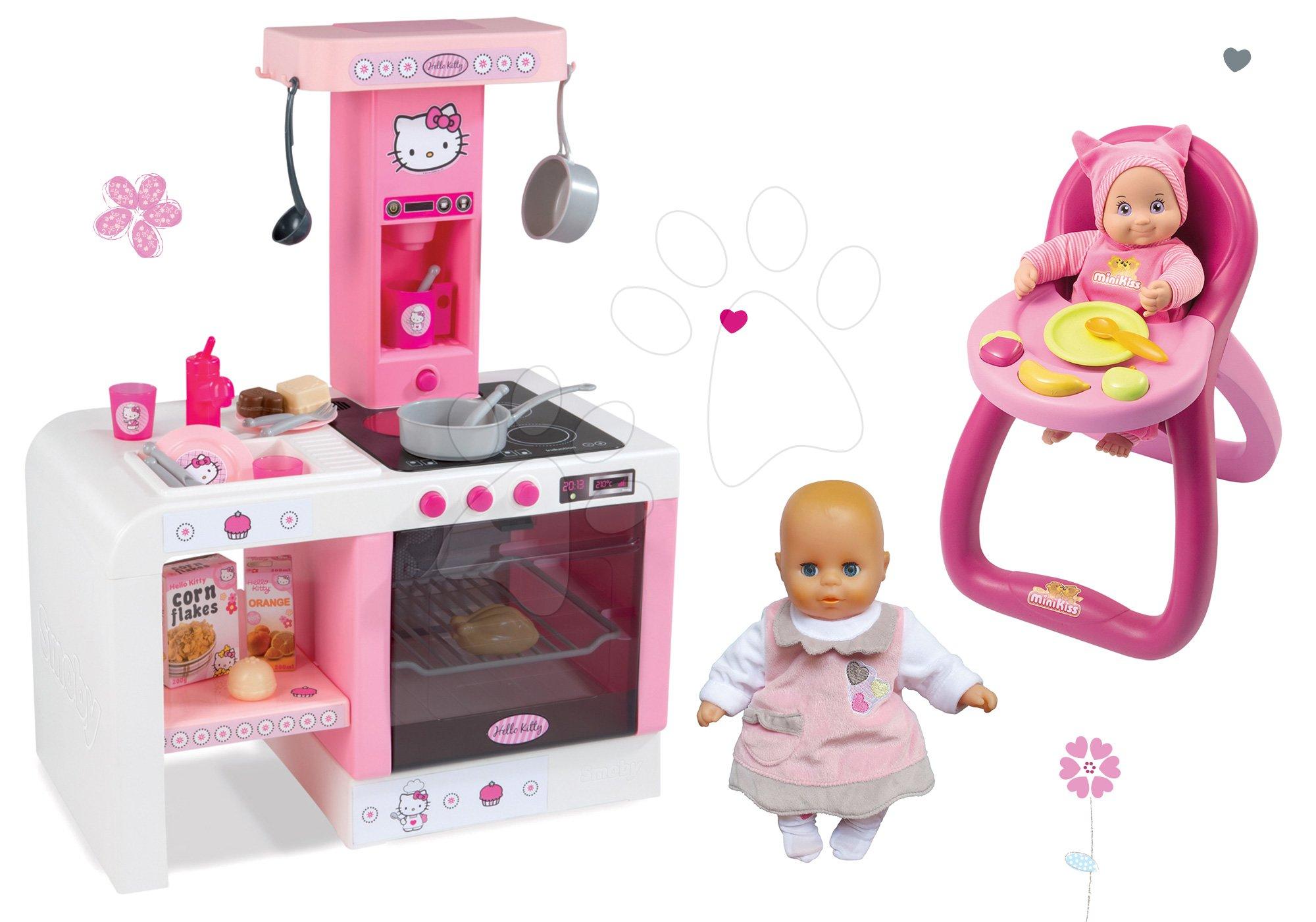 Komplet kuhinja Hello Kitty Cheftronic Smoby z zvoki in 19 dodatki, stolček za hranjenje in rožnato dojenček
