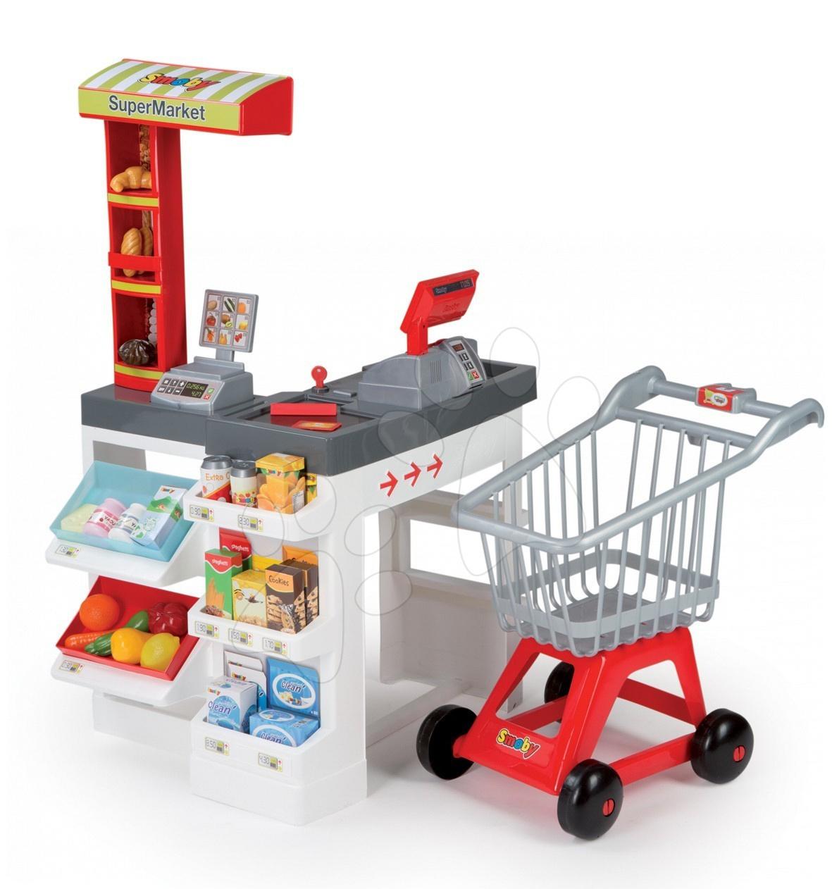 Obchody pre deti - Obchodík s nákupným košíkom SuperMarket Smoby so zvukom, svetlom a 36 doplnkami