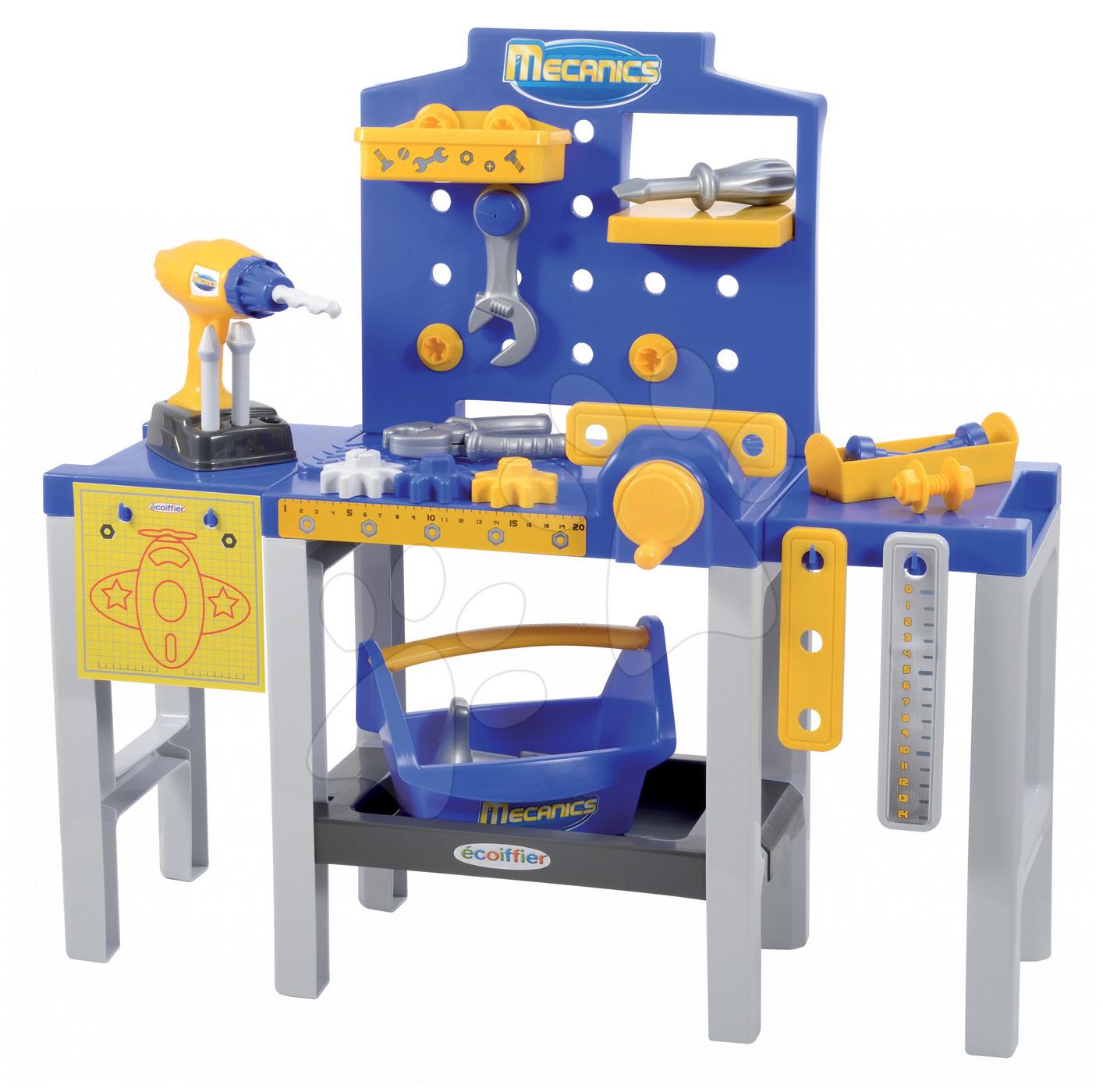 Pracovná detská dielňa - Pracovná dielňa Mecanics Écoiffier skladacia s 31 doplnkami od 18 mes