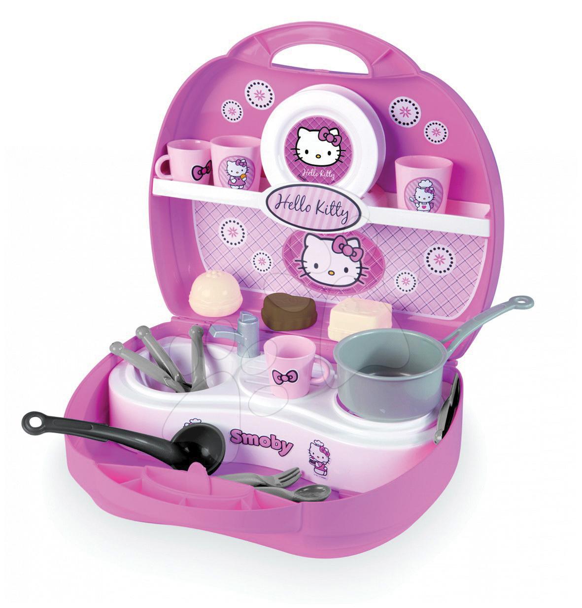 Staré položky - Kuchyňka v kufříku Hello Kitty Smoby a 20 doplňků