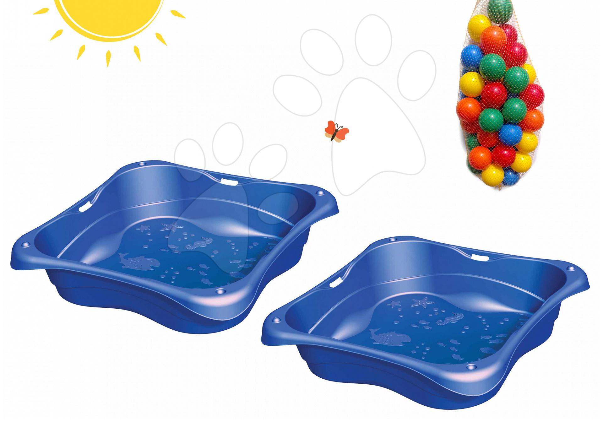 Pieskoviská pre deti - Sada dvoch pieskovísk Modrá Lagúna Lagoon Starplast objem 2*62 litrov + 100 loptičiek