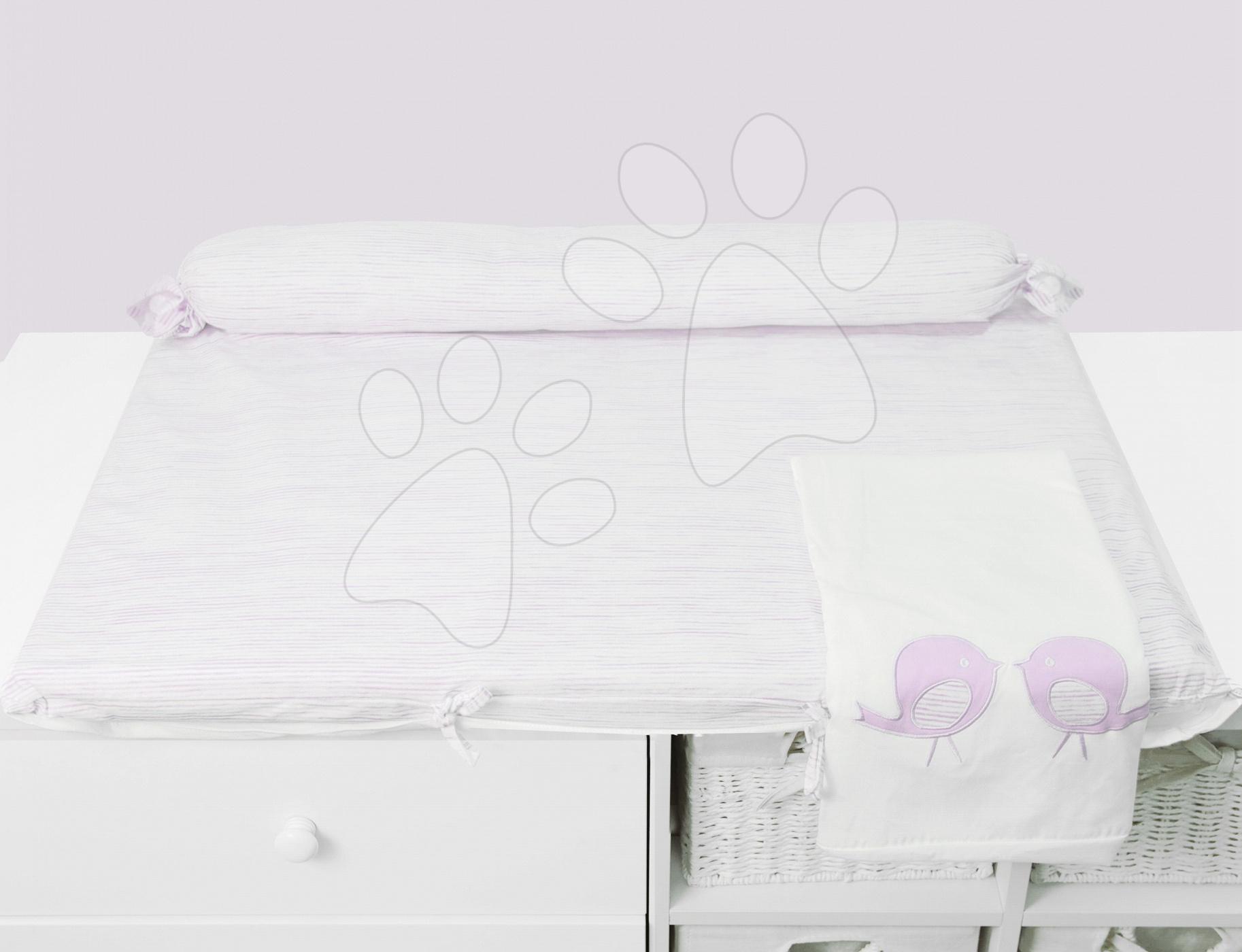 Přebalovací podložka Classic toTs-smarTrike s 2 povlečením ptáčky 100% satén bavlna růžová od 0 měsíců