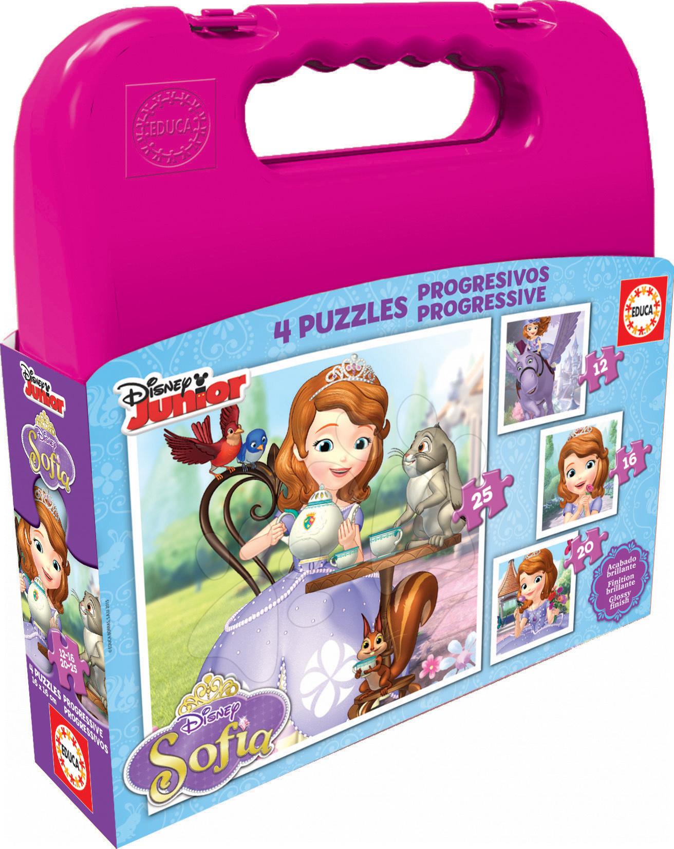 Progresívne detské puzzle - Puzzle Sofia Prvá v kufríku Educa 25-20-16-12 dielov, progresívne od 24 mes