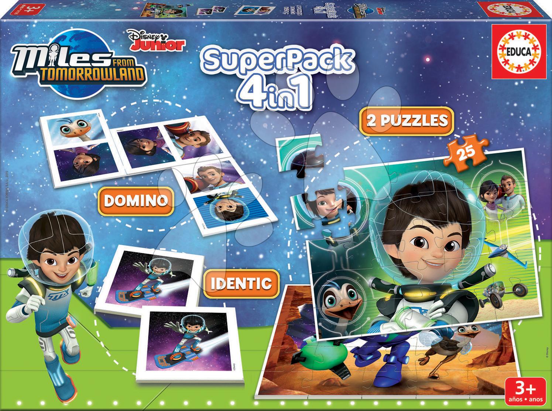 Progresívne detské puzzle - Puzzle Miles from Tomorrowland SuperPack 4 v 1 Educa 2x puzzle, domino a pexeso, progresívne