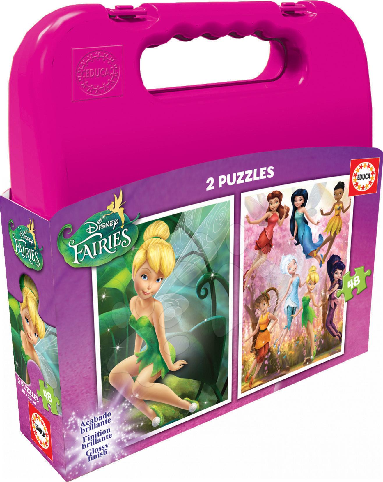 Detské puzzle do 100 dielov - Puzzle Víly Educa v kufríku 2x48 dielov