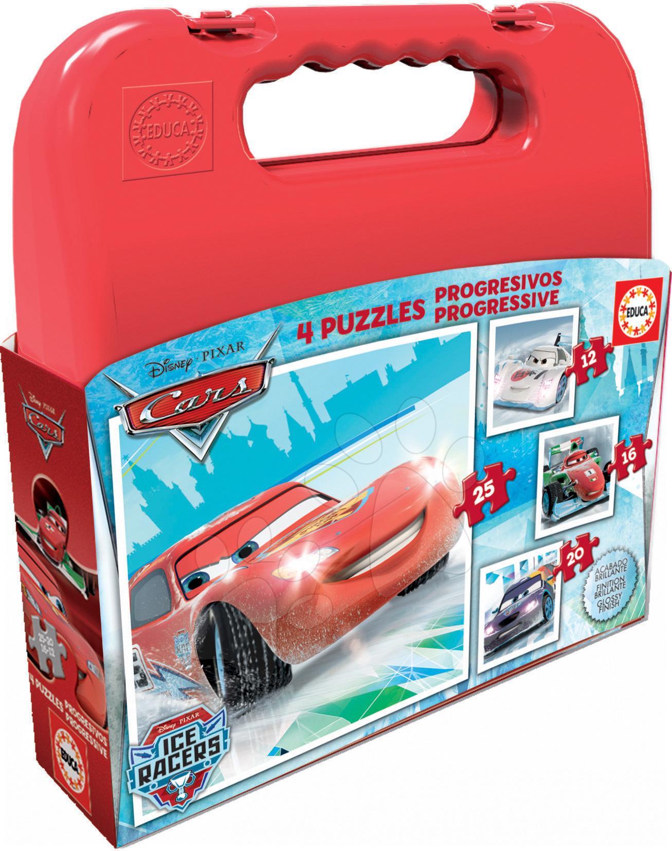 Progresívne detské puzzle - Puzzle Autá Ľadoví pretekári v kufríku Educa 25-20-16-12 dielov, progresívne od 24 mes