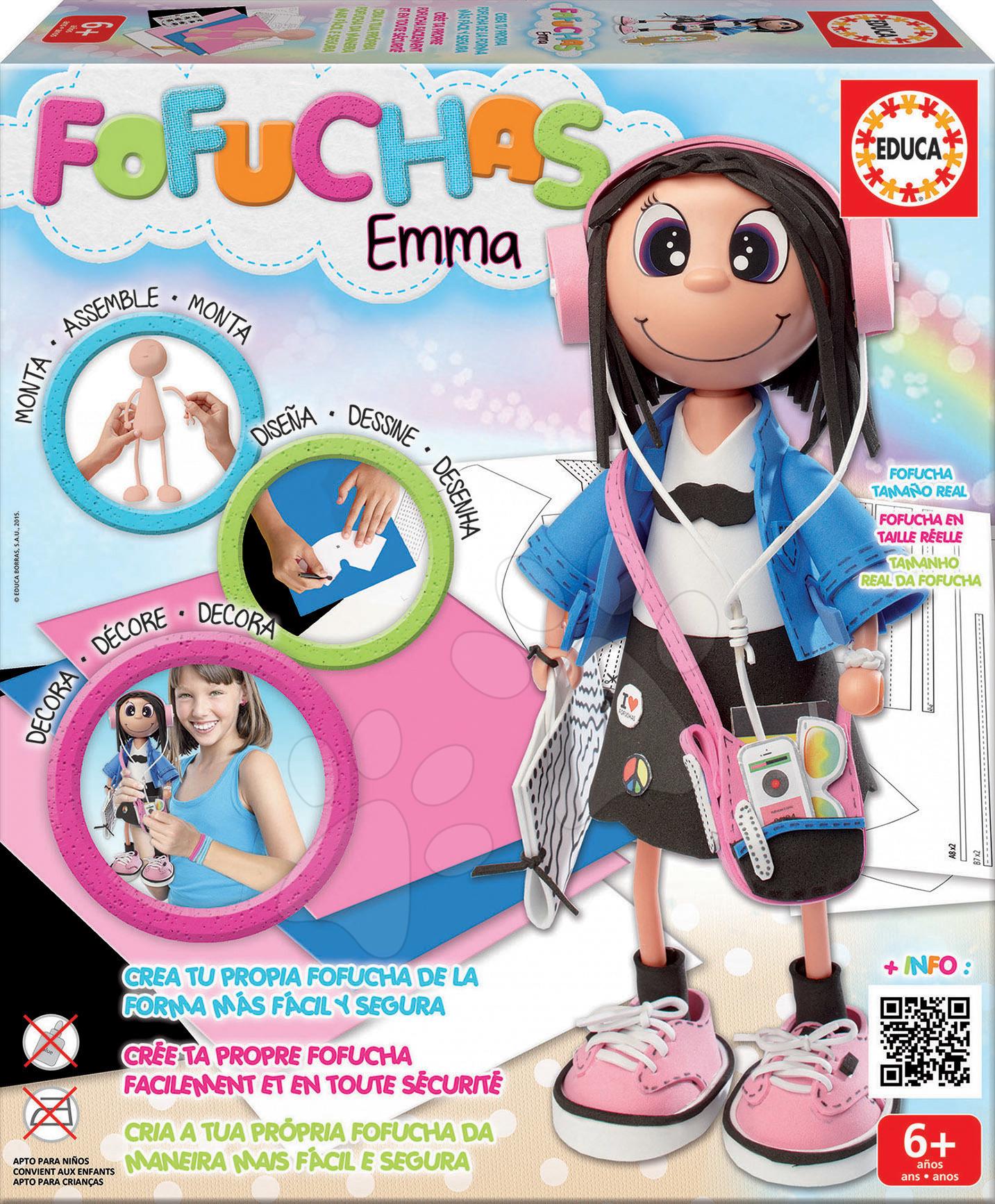 Ručné práce a tvorenie - Bábika Emma Fofuchas Educa Obleč ju sama od 6 rokov