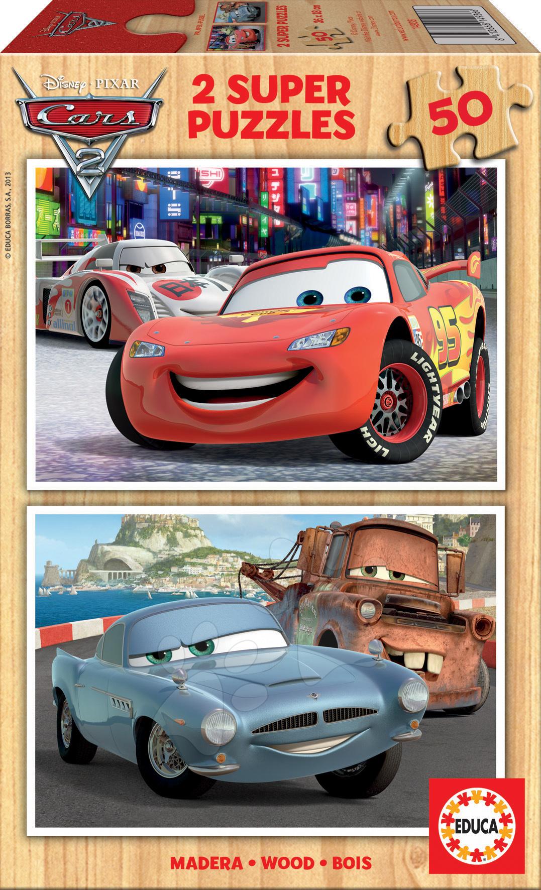 Dřevěné Disney puzzle - Dřevěné puzzle Auta 2 Educa 2x50 dílů od 5 let
