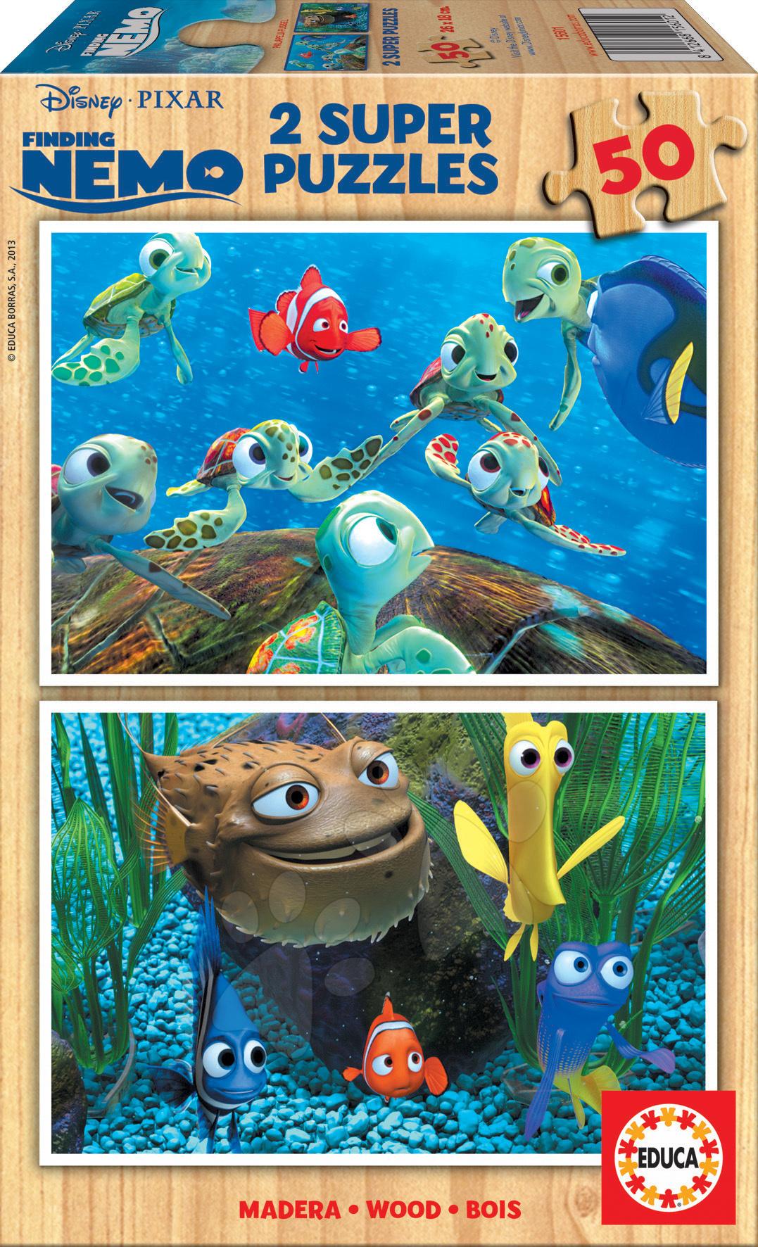 Drevené puzzle Disney Hľadá sa Nemo Educa 2x 50 dielov od 5 rokov