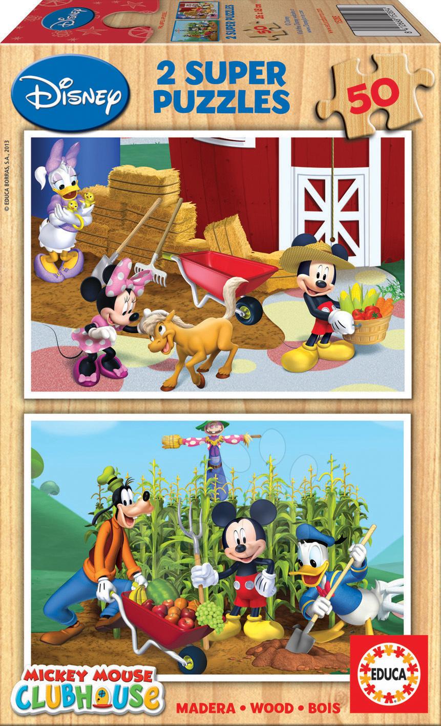 Drevené Disney puzzle - Drevené puzzle Mickey a Minnie Educa 2x 50 dielov od 5 rokov