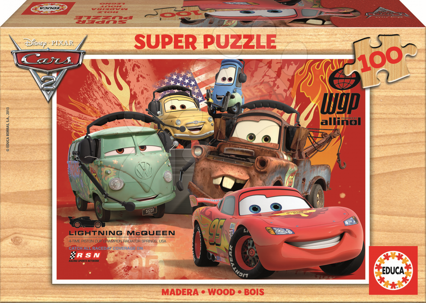 Dřevěné Disney puzzle - Dřevěné puzzle Auta 2 Educa 100 dílů od 5 let