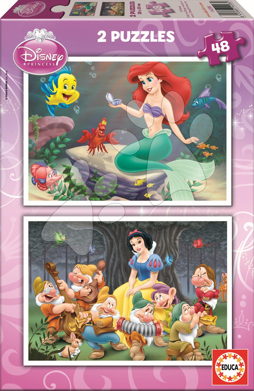 Gyerek puzzle 8 - 99 darabos - Puzzle Disney Hófehérke és Ariel Educa 2x48 db