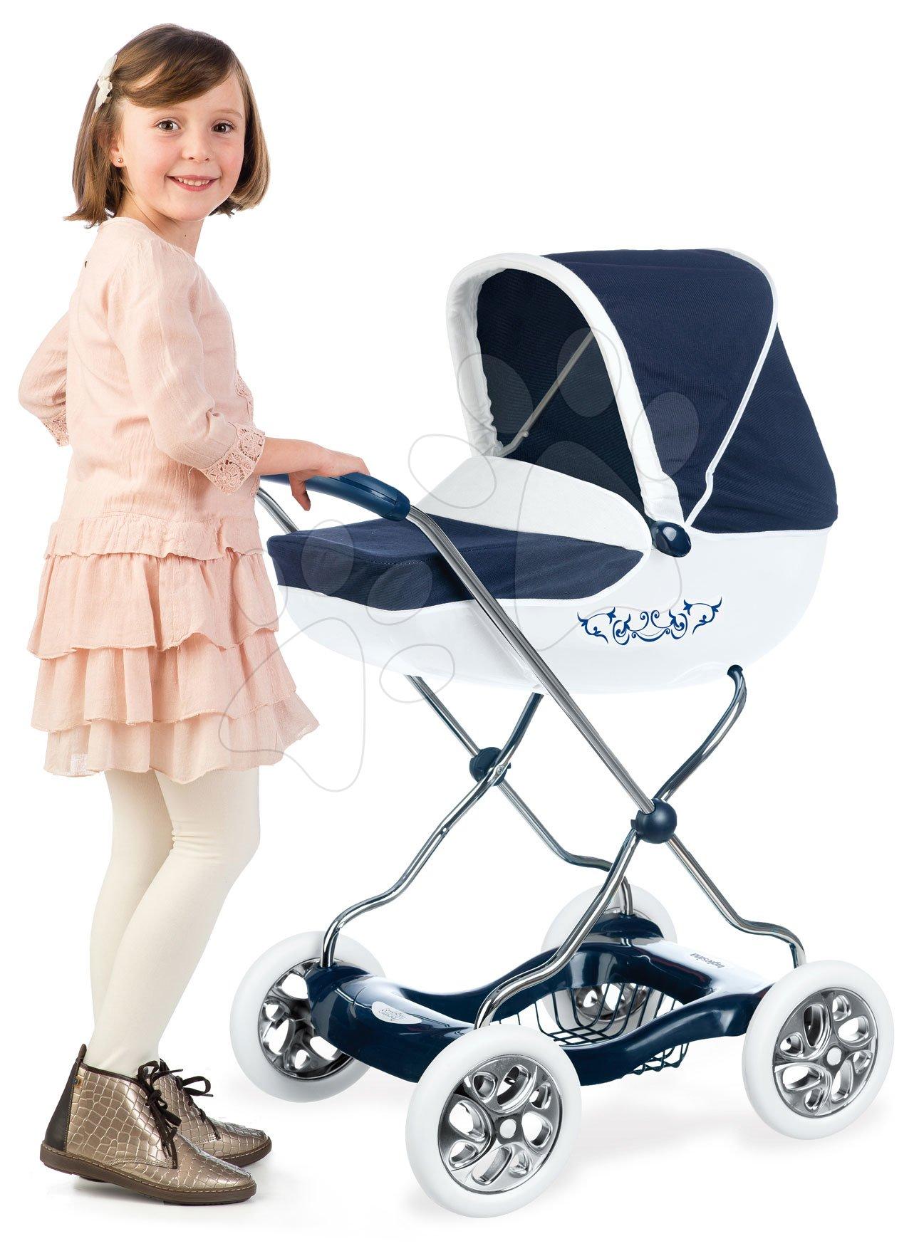 Kočárek hluboký velký Shara Inglesina White&Blue Baby Nurse Smoby modrý pro 42cm panenku výška rukojeti 77 cm