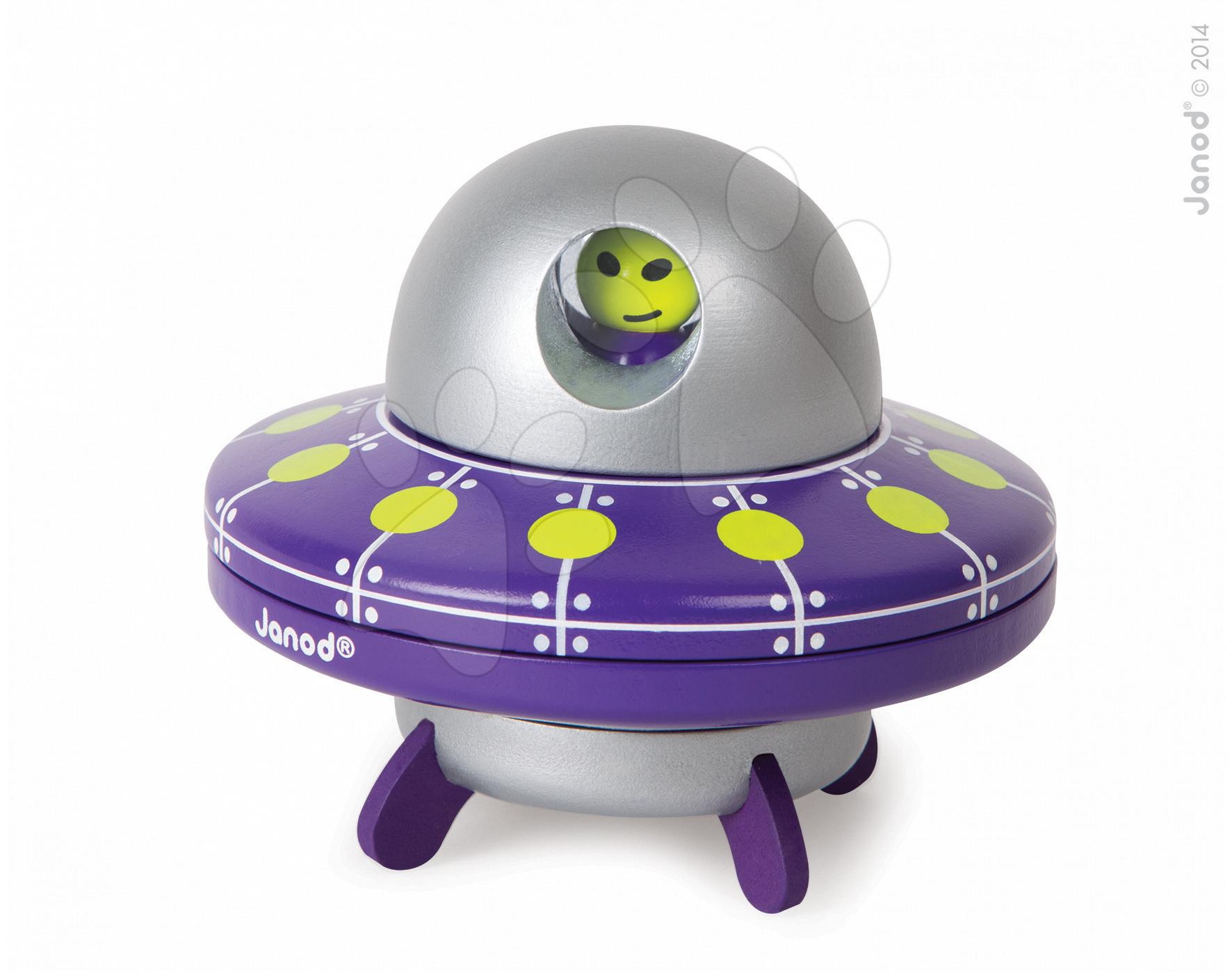 Autíčka - Drevená magnetická skladačka UFO Kit Magnet Janod 9 dielov od 24 mes