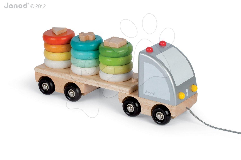 Nákladné autá - Drevený kamión Multi Colors Truck Janod na ťahanie s krúžkami od 24 mes