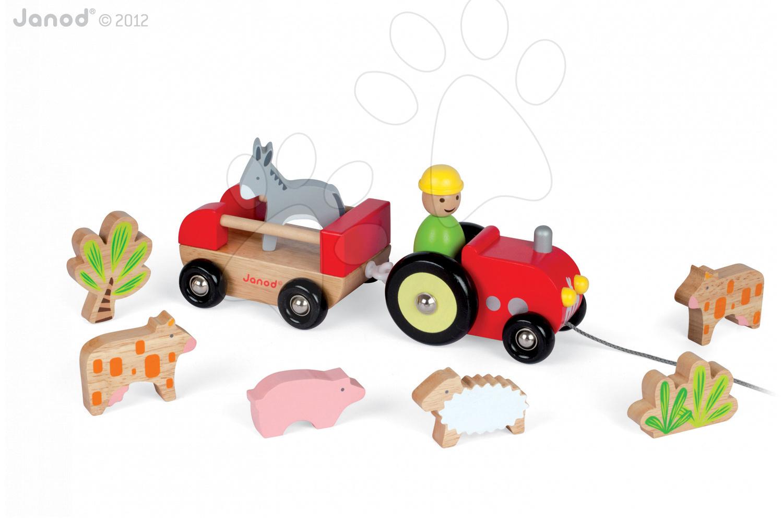 Ťahacie hračky - Drevený traktor Multi Animo Tractor Janod na ťahanie so zvieratkami od 24 mes