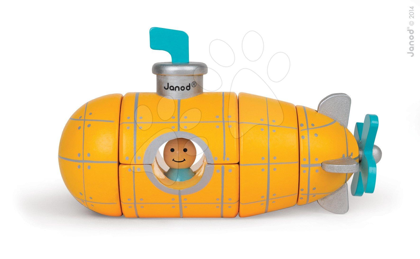 Autíčka - Drevená magnetická skladačka Ponorka Kit Magnet Janod 9 dielov od 24 mes