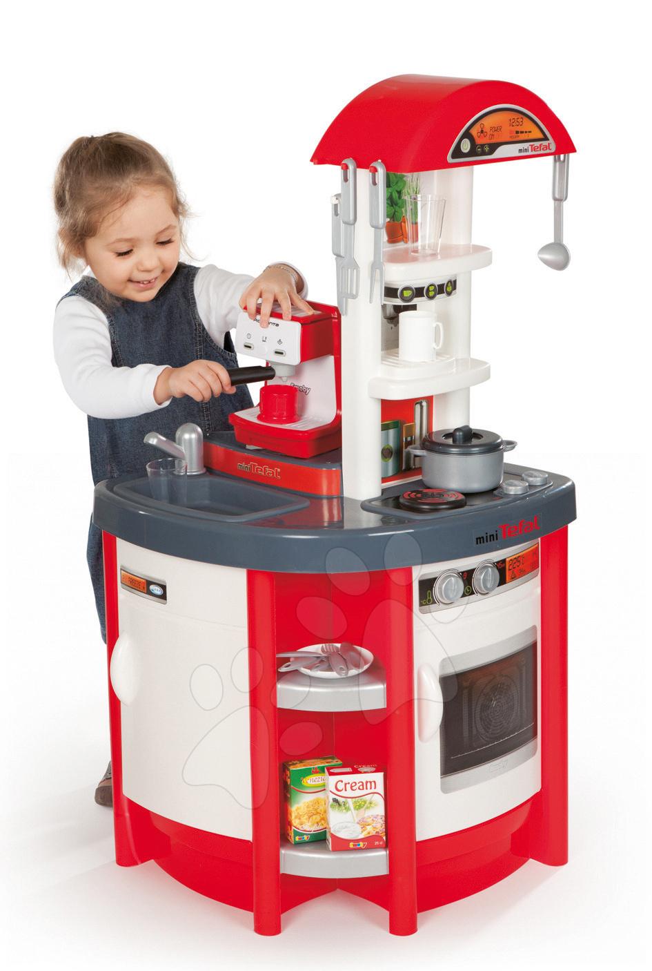 Kuchyňka pro děti Studio Tefal Smoby elektronická se zvuky, a kávovarem Espresso Rowenta a 19 doplňky červená