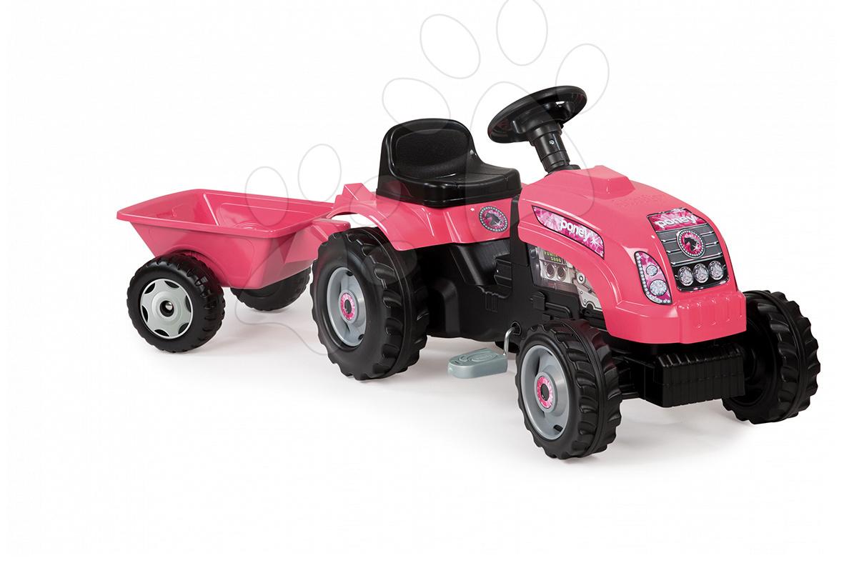 Detské šliapacie vozidlá - Traktor GM Fille Smoby ružový s prívesom