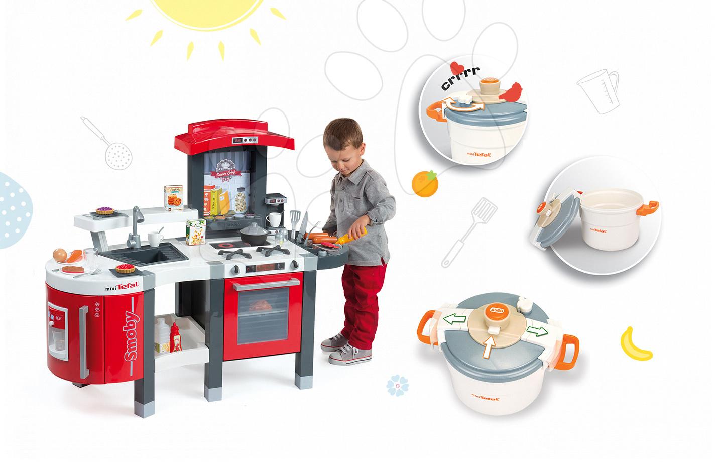 Set dětská kuchyňka Tefal SuperChef Smoby s grilem a kávovarem a tlakový hrnec Tefal