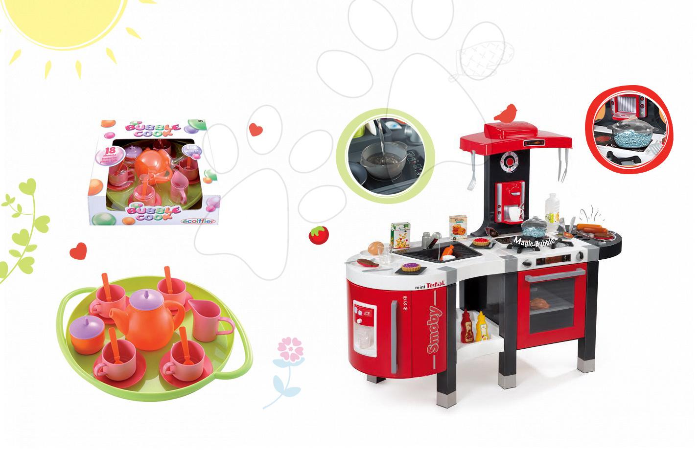 Kuchyňky pro děti sety - Set kuchyňka Tefal French Touch Bublinky&Voda Smoby s magickým bubláním a čajová sada Bubble Cook