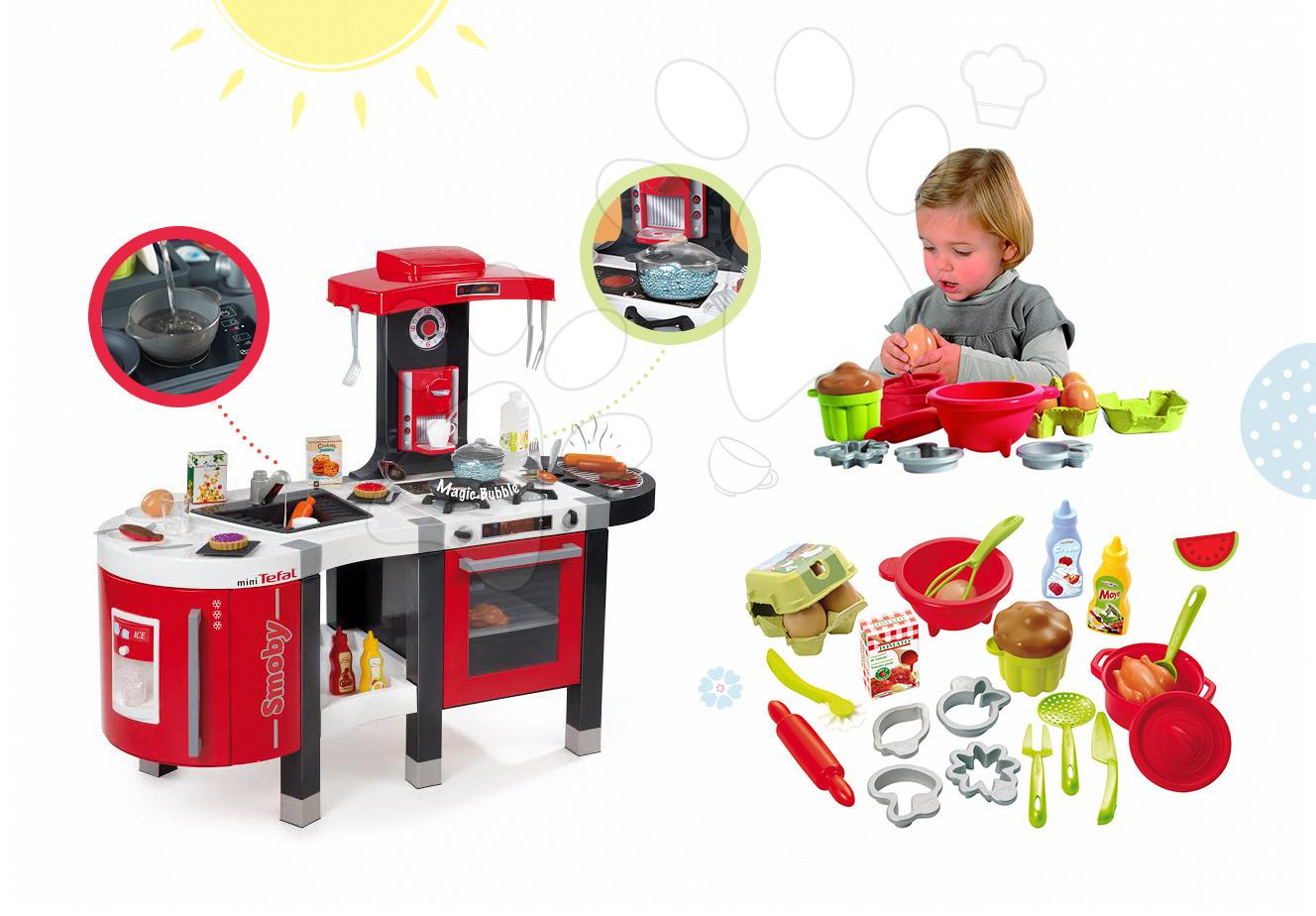Kuchynky pre deti sety - Set kuchynka Tefal French Touch Bublinky&Voda Smoby s magickým bublaním a súprava na varenie