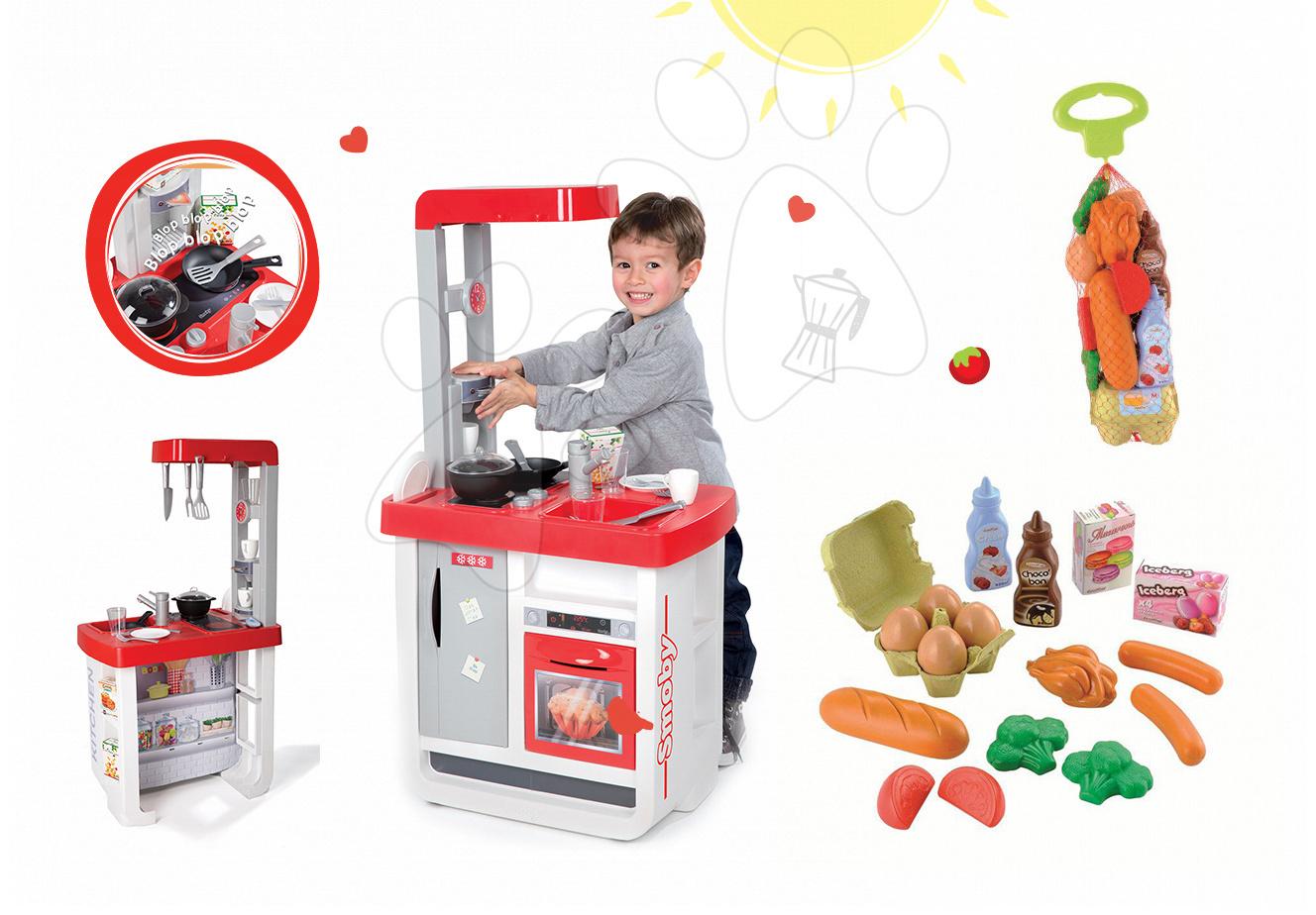Kuchynky pre deti sety - Set kuchynka Bon Appétit Smoby so zvukmi a kávovarom a potraviny v sieťke Bubble Cook