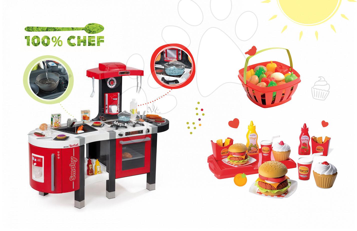 Kuchynky pre deti sety - Set kuchynka Tefal French Touch Bublinky&Voda Smoby s magickým bublaním, hamburger set a košík s potravinami