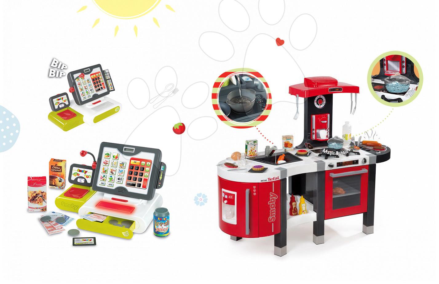 Set dětská kuchyňka Tefal French Touch Bublinky&Voda Smoby s magickým bubláním a elektronická dotyková pokladna