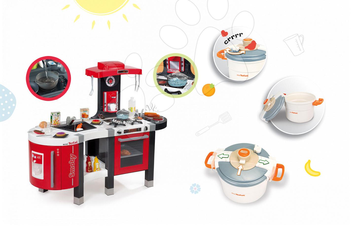 Kuchynky pre deti sety - Set kuchynka Tefal French Touch Bublinky&Voda Smoby s magickým bublaním a tlakový hrniec Tefal