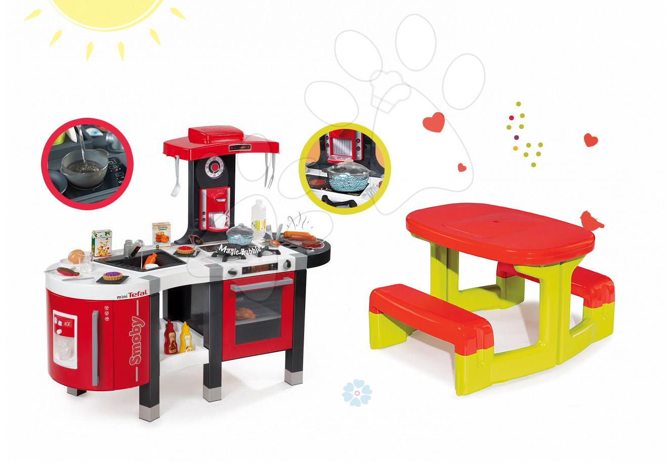 Set kuchyňka Tefal French Touch Bublinky&Voda Smoby s magickým bubláním a stůl Piknik s úložným prostorem