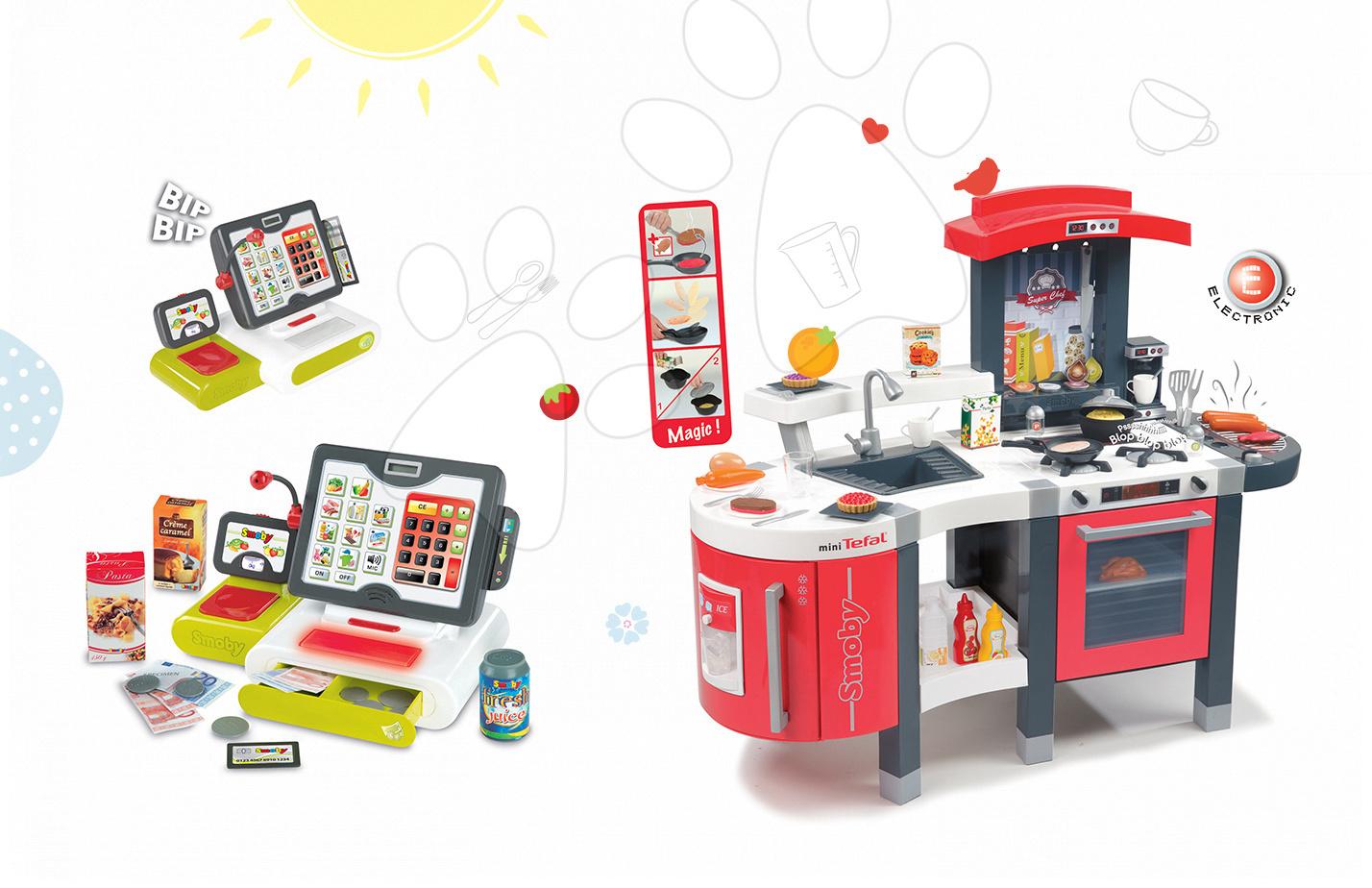 Set dětská kuchyňka Tefal SuperChef Smoby s grilem a kávovarem a elektronická dotyková pokladna