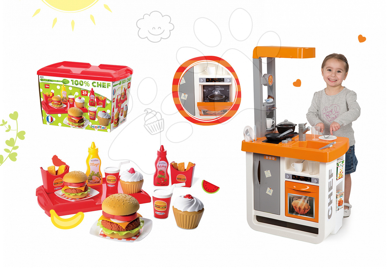 Smoby detská kuchynka Bon Appétit Chef a Écoiffier hamburgerový set 310803-1