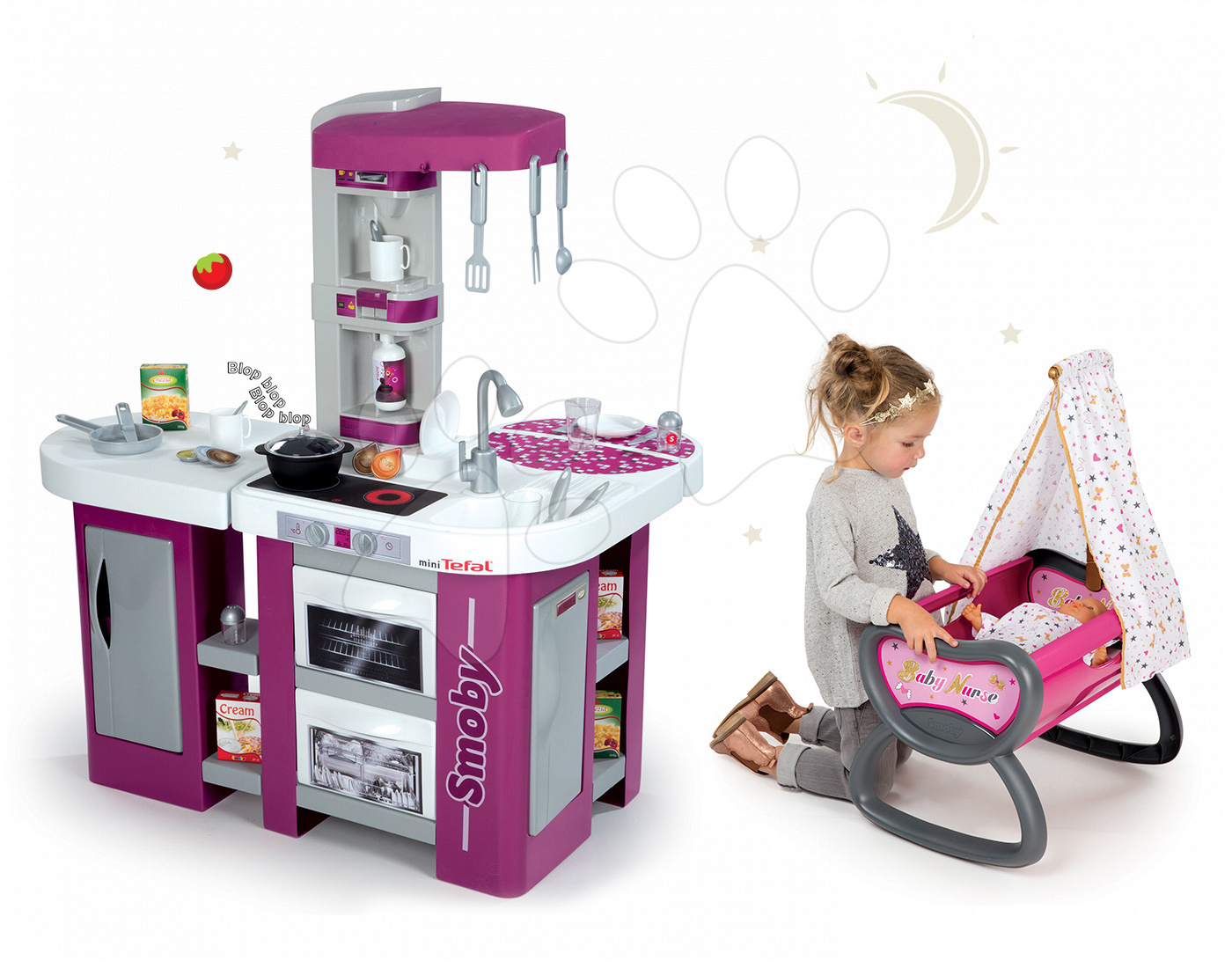 Set kuchyňka Tefal Studio XL Smoby se zvukem a úklidový vozík Clean s vysavačem