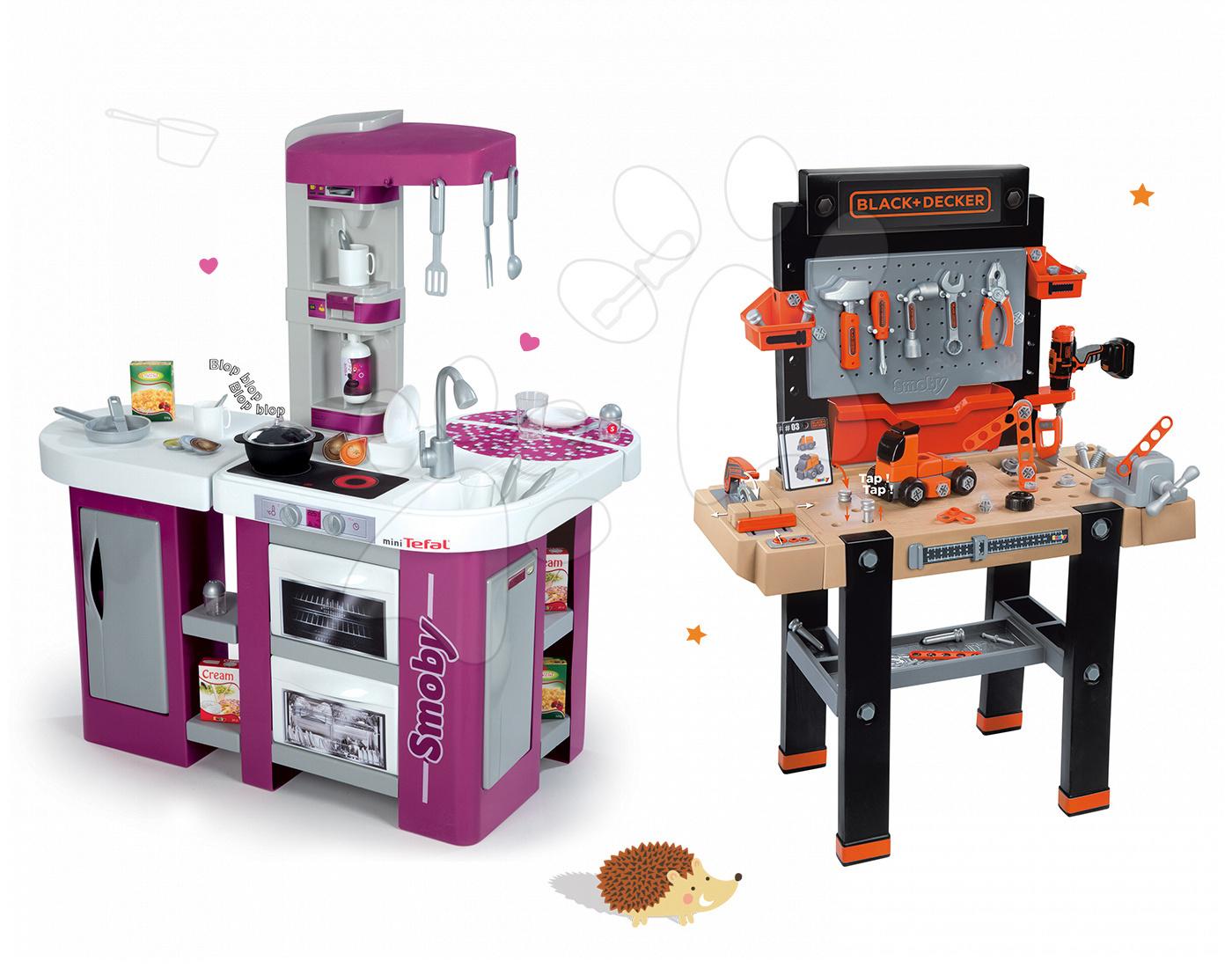 Set kuchyňka Tefal Studio XL Smoby se zvukem a pracovní dílna Black&Decker s vrtačkou