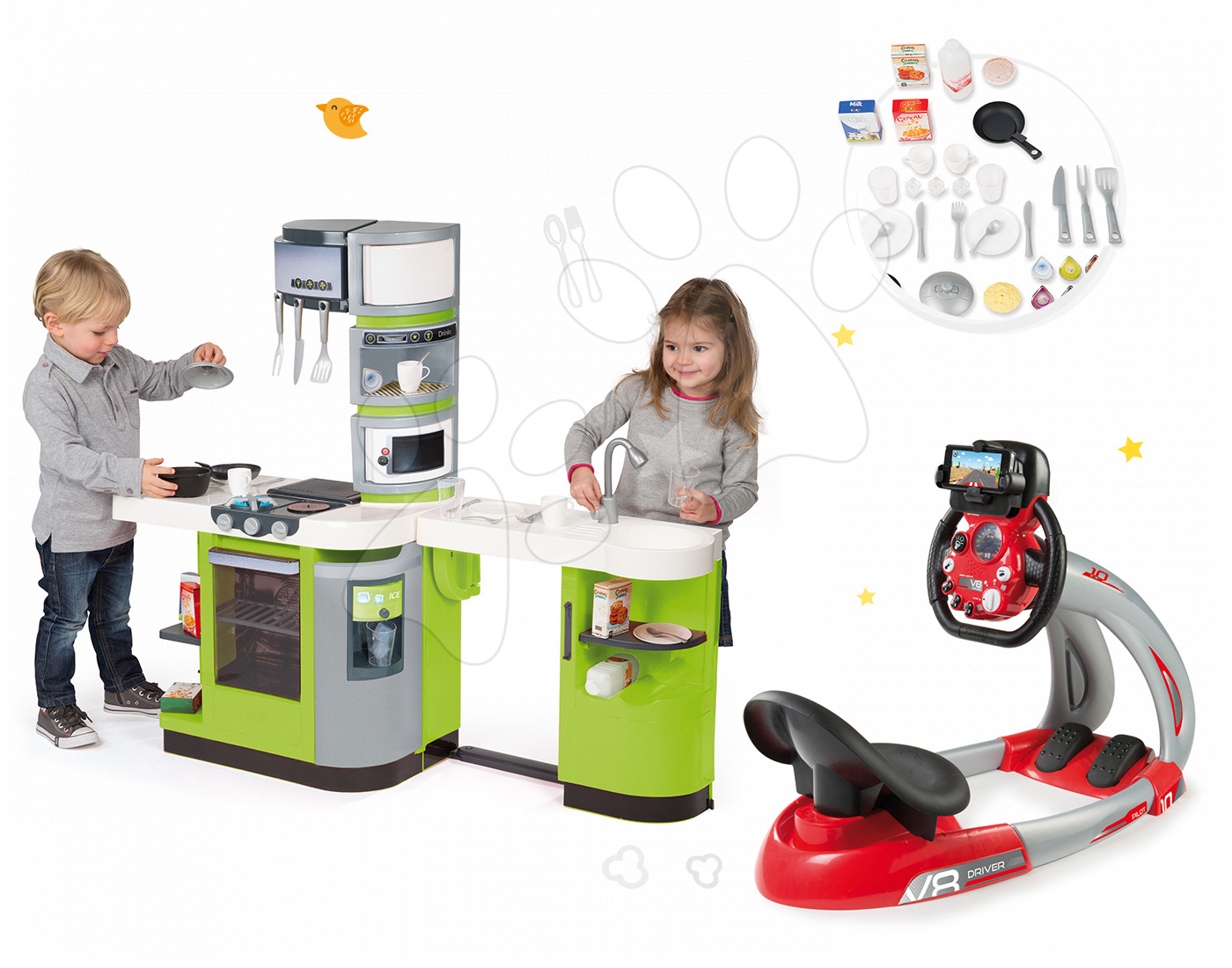 Smoby set detská kuchynka CookMaster Verte a trenažér V8 Driver 311102-21