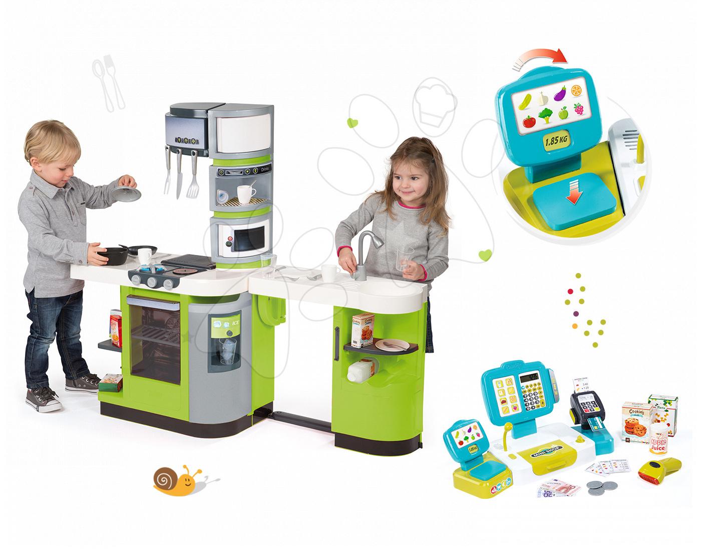 Set kuchyňka CookMaster Verte Smoby s ledem a elektronická pokladna Mini Shop