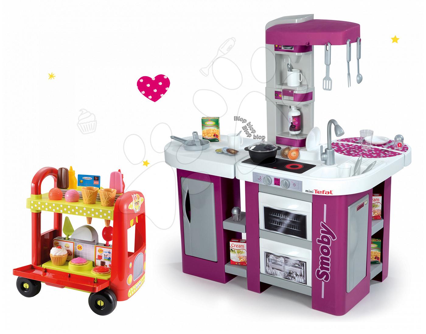 Set kuchyňka Tefal Studio XL Smoby se zvukem a zmrzlinářský vozík s hamburgery