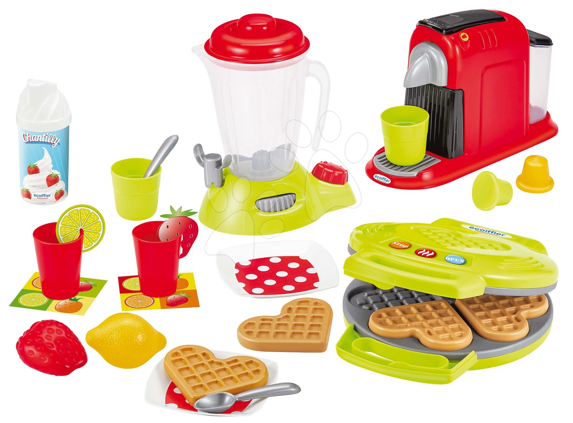 Posodice in dodatki za kuhinje - Opekač za vaflje z mešalnikom in kavomatom Small Household Appliances Ecoiffier s palačinkami in 24 dodatki od 18 meseca