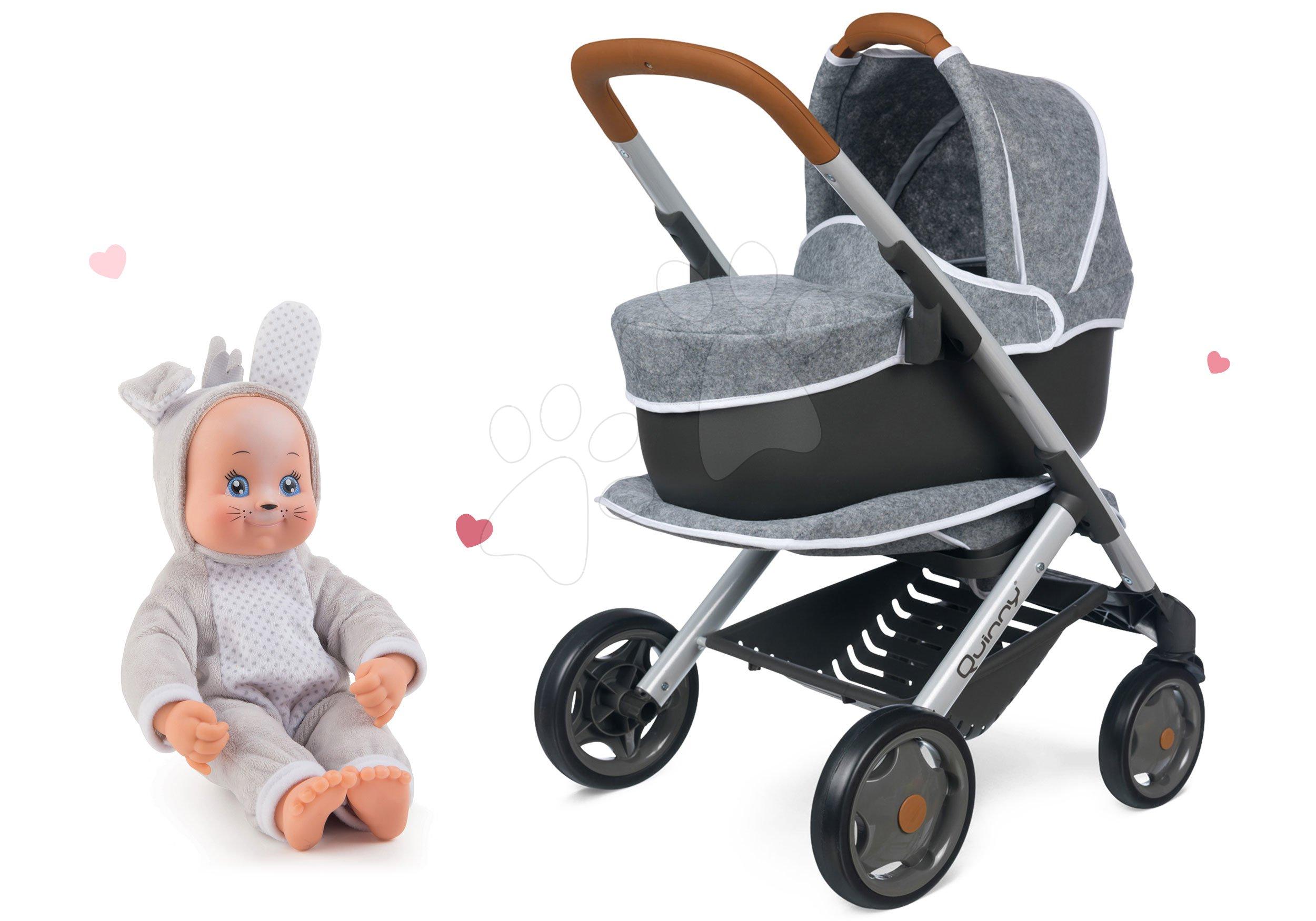 Set kočárek hluboký a sportovní DeLuxe Pastel Maxi Cosi&Quinny Grey 3v1 Smoby a panenka v kostýmu Zajíček Animal Doll MiniKiss 27 cm se zvukem
