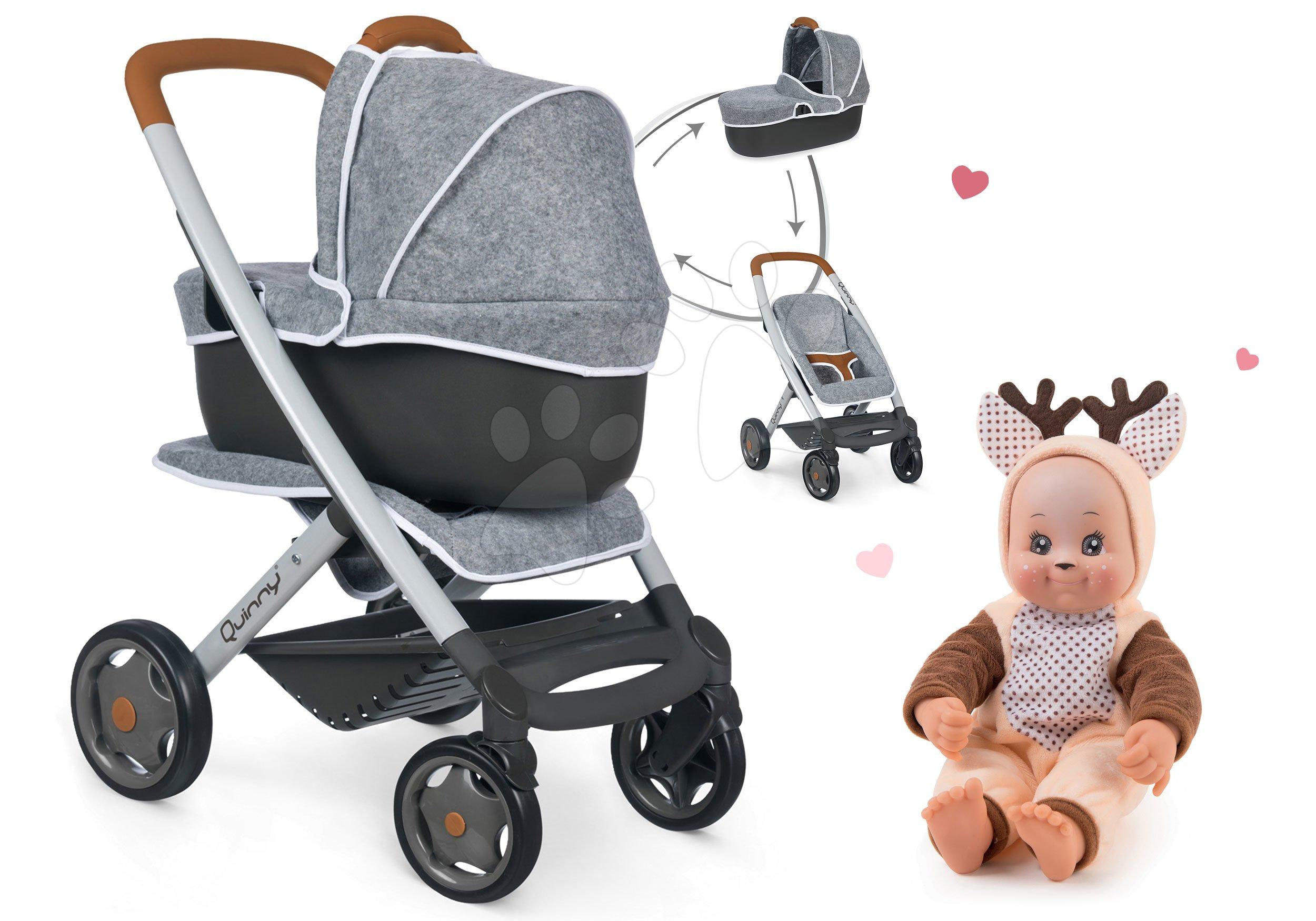 Set cărucior adânc și sportiv DeLuxe Pastel Maxi Cosi&Quinny Grey 3în1 Smoby și păpușă în costumul Cerb Animal Doll MiniKiss 27 cm cu sunete