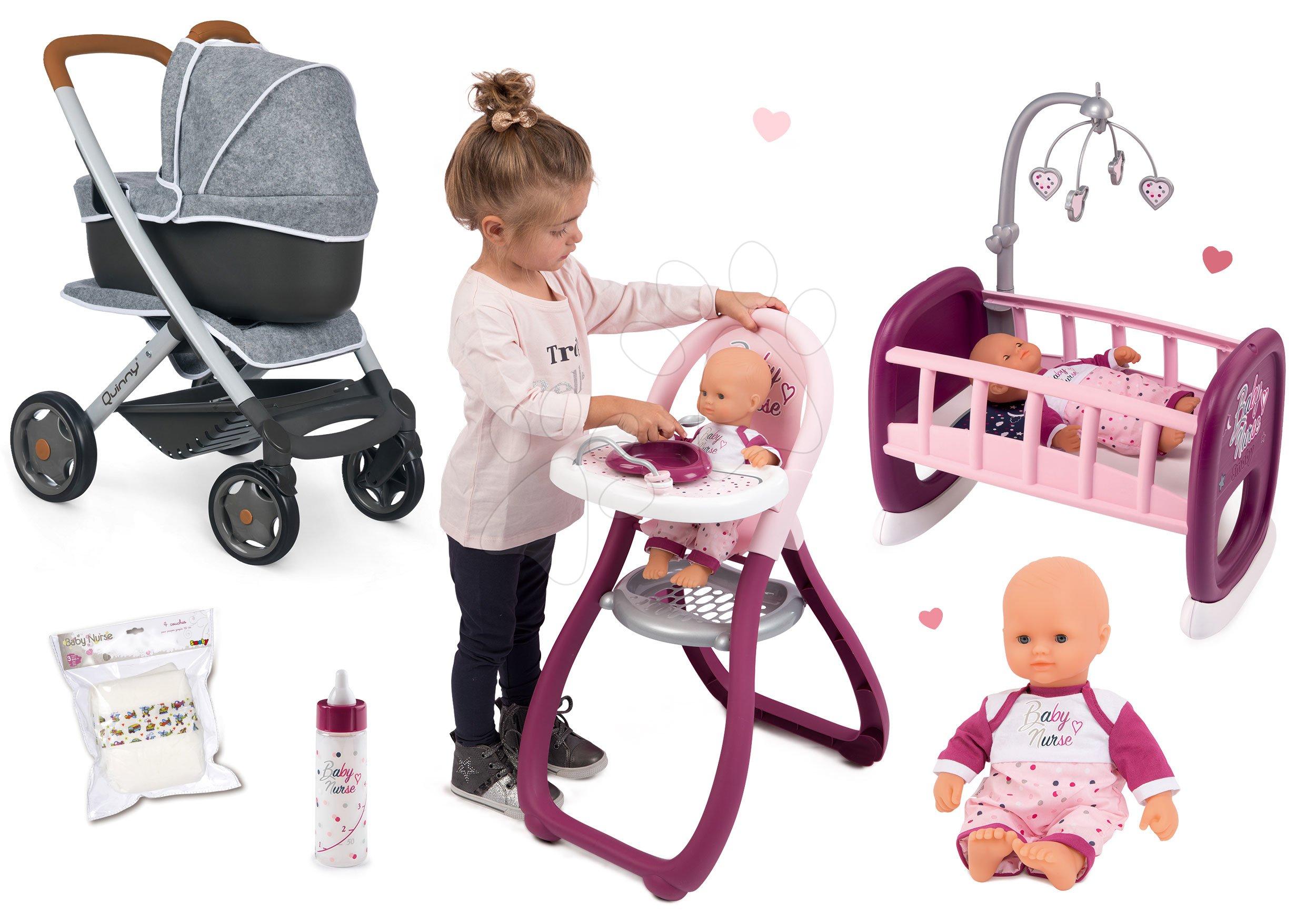 Set kočárek hluboký a sportovní DeLuxe Pastel Maxi Cosi&Quinny Grey 3v1 Smoby a panenka Violette s jídelní židličkou a kolébka s lahvičkou a pamperskami