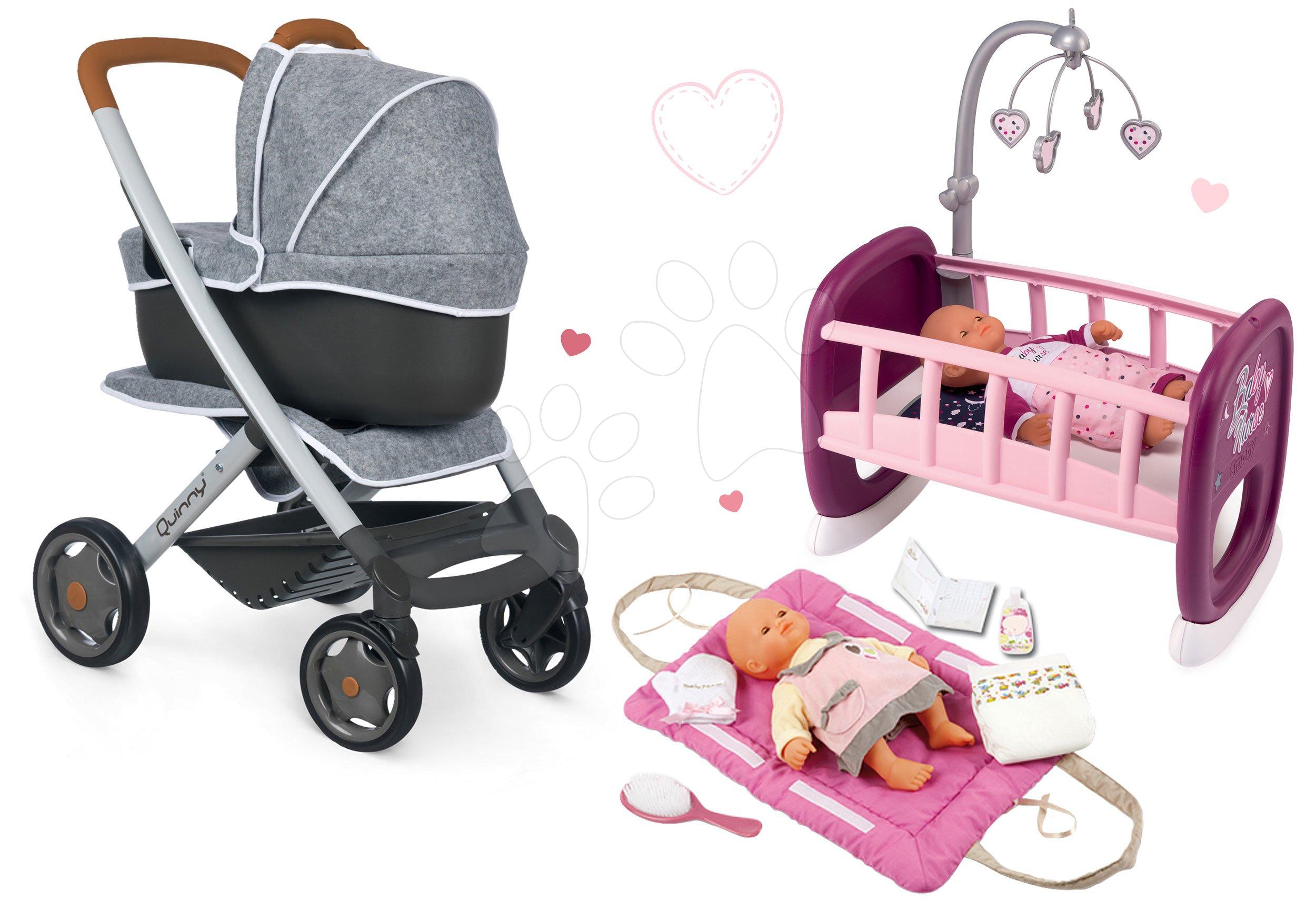 Set kočárek hluboký a sportovní DeLuxe Pastel Maxi Cosi&Quinny Grey 3v1 Smoby a kolébka Baby Nurse s přebalovací podložkou