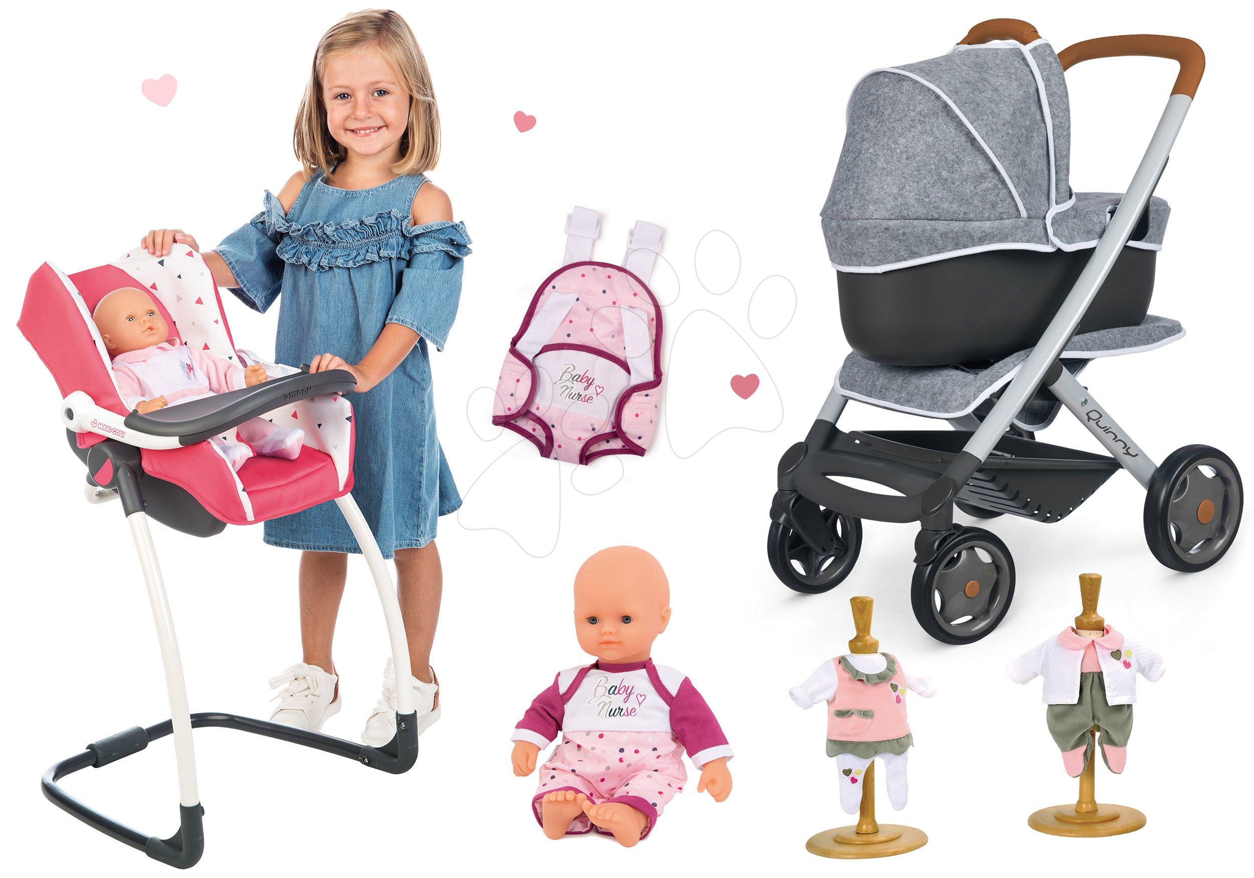 Set kočík hlboký a športový DeLuxe Pastel Maxi Cosi&Quinny Grey 3v1 Smoby a stolička autosedačka a hojdačka s bábikou s nosičom a 2 šaty