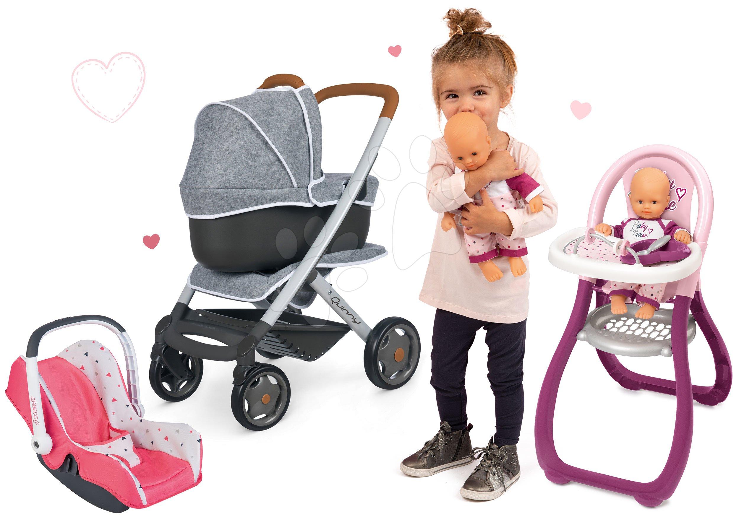 Set kočárek hluboký a sportovní DeLuxe Pastel Maxi Cosi&Quinny Grey 3v1 Smoby a autosedačka a jídelní židle s panenkou Violette